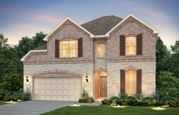 Exterior:The Lexington, a two-story home with 2-car garage, shown as Home Exterior C