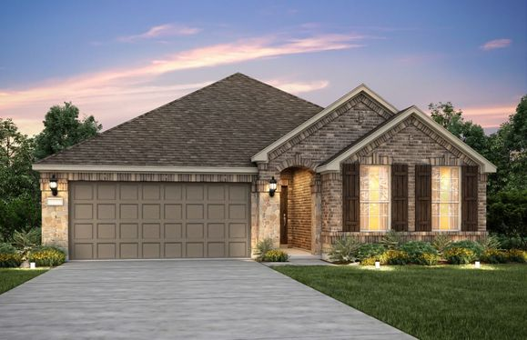 Exterior:Exterior B, with stone accents, shutters, and 2-car garage with extra storage space