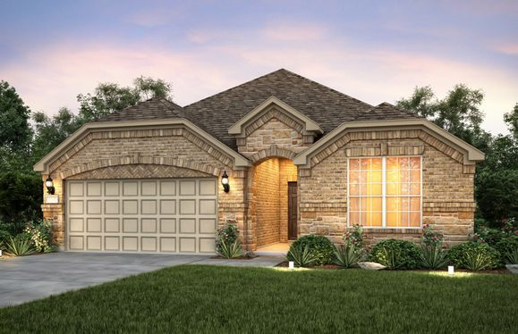 Exterior:Exterior C with stone accents and a 2-car garage