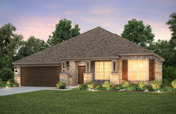 Dunlay:The Dunlay, a one-story home with 2-car garage, shown with Home Exterior  D