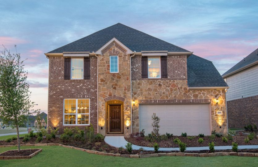 Lexington:The Lexington, a two-story home with 2-car cedar garage, shown as Home Exterior D