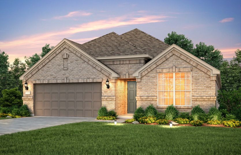 Exterior:The Sheldon, a one-story home with 2-car garage, shown with Home Exterior A