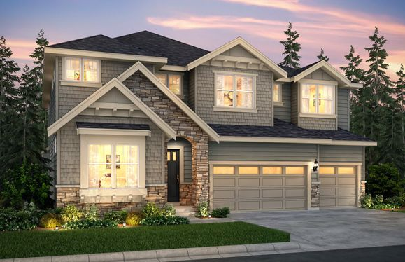 Davenport:The Davenport, a two-story single family home with a three-car garage shown in Exterior Home Design