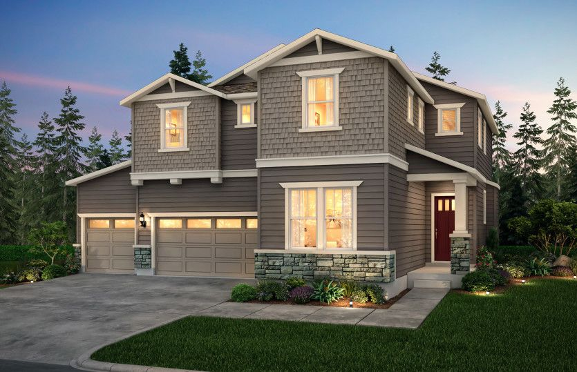 Lynwood:The Lynwood, a single family, two-story home with a three-car garage shown in Exterior Home Design B