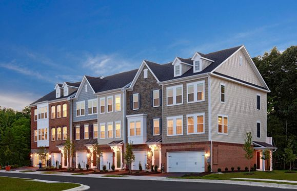 Eagleton:Stately Townhome Exteriors with Brick, Stone and Siding