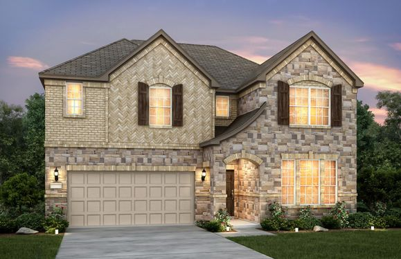 Lockhart:Exterior D with stone, shutters, and 2-car garage