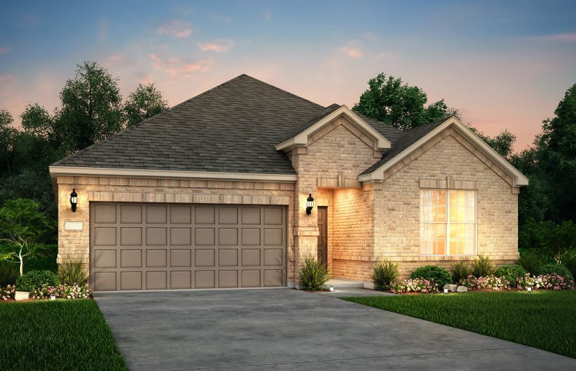 Exterior:The Parker, a one-story home with 2-car garage, shown with Home Exterior 31
