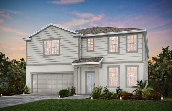 Valencia:The Valencia, a two-story family home with a 2 car garage, shown in Home Exterior 1