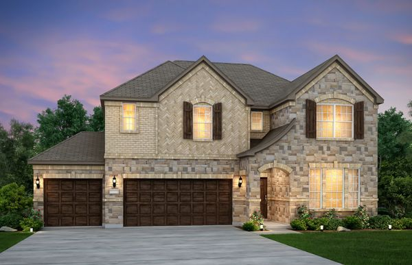 Lockhart:The Lockhart, a 2-story home with shutters and 3-car garage, shown with Home Exterior D