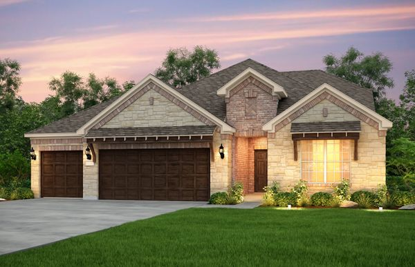 Exterior:The Mooreville, a two-story home with 3-car garage, shown with Home Exterior D