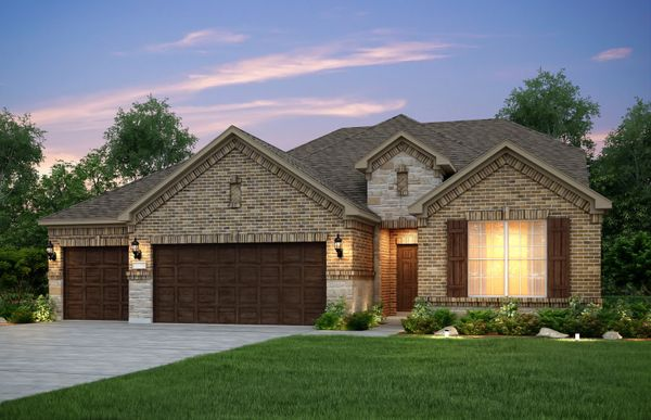 Exterior:The Mooreville, a two-story home with 3-car garage, shown with Home Exterior B