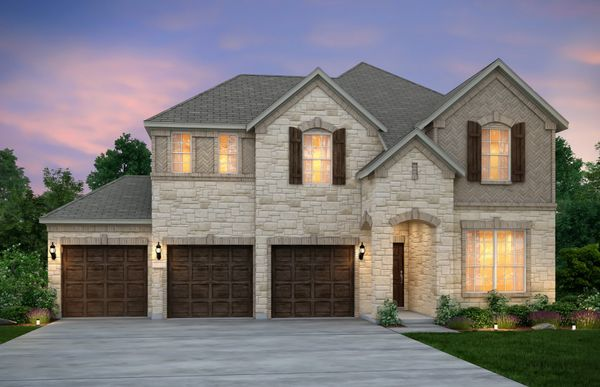 San Marcos:The San Marcos, a 2-story home with shutters and 3-car garage, shown with Home Exterior D