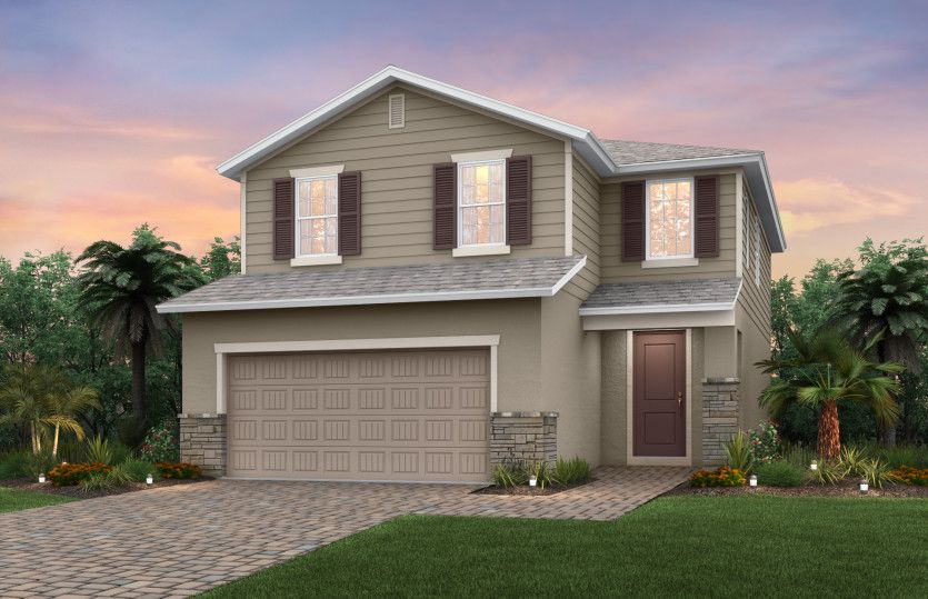 Starboard:The Starboard, a two-story home with a 2 car garage, shown as Home Exterior FM2A