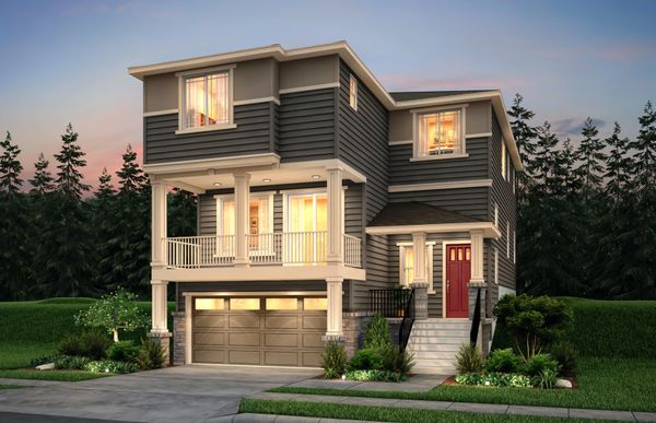 Exterior:The Carillon, a three story home shown in Exterior Home Design C.