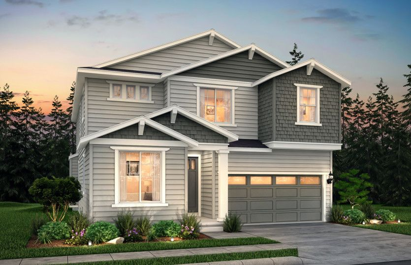 Lakeview:The Lakeview, a single family, two-story home with a two-car garage shown in Exterior Home Design B.
