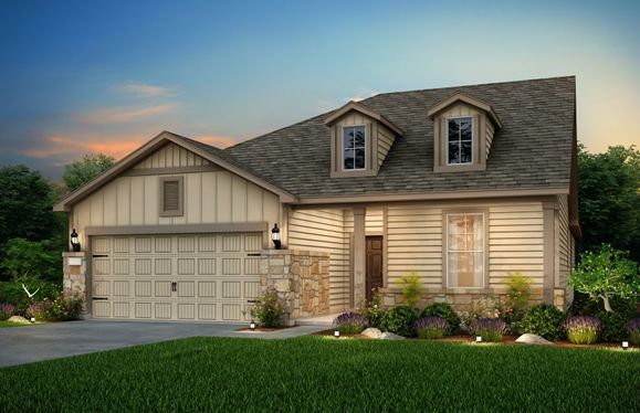 Exterior:The Emory, a one-story home with 2-car garage, shown with Home Exterior 41