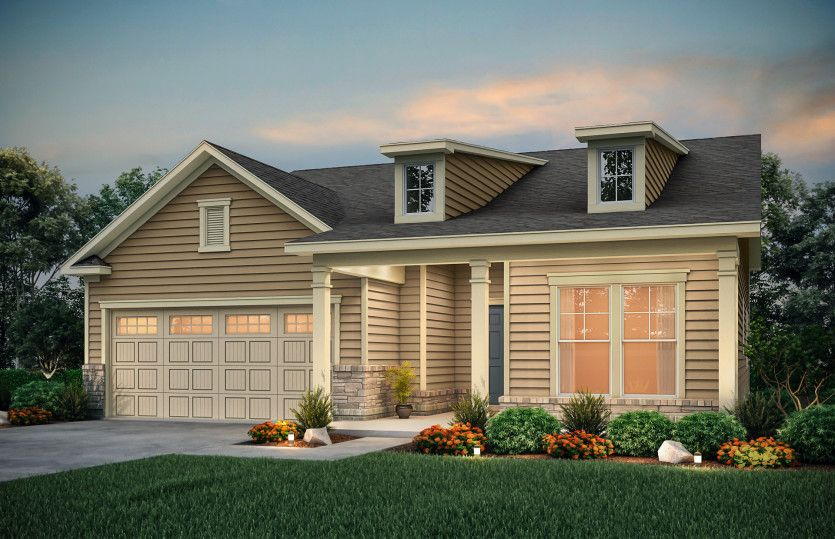 Exterior:Bedrock Exterior LC2H features siding, stone accents and covered front porch
