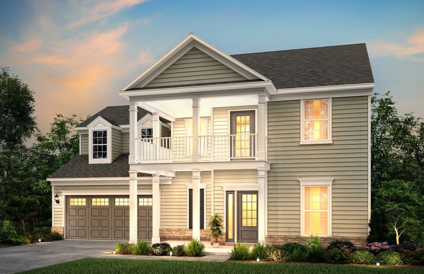 Waterstone:Waterstone Exterior 4 features siding, stone accents, double front porch and deck