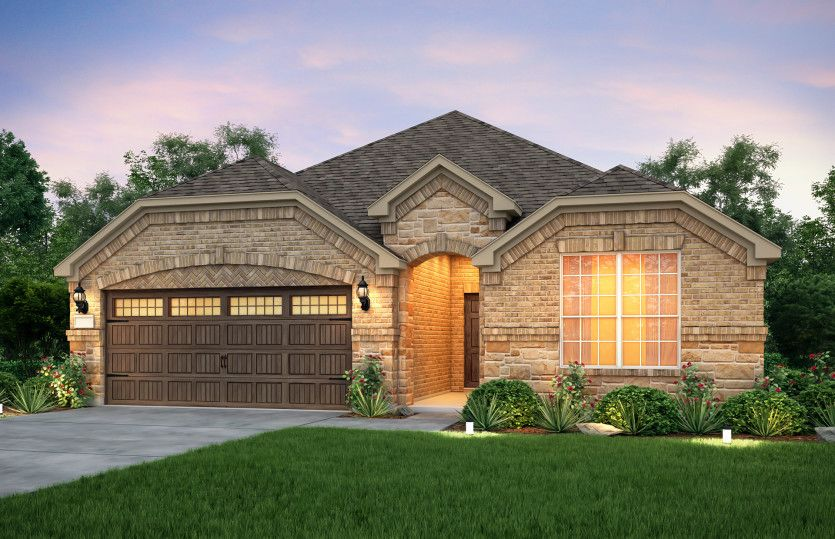 Exterior:The Mckinney, a one-story home with 2-car garage, shown with Home Exterior C