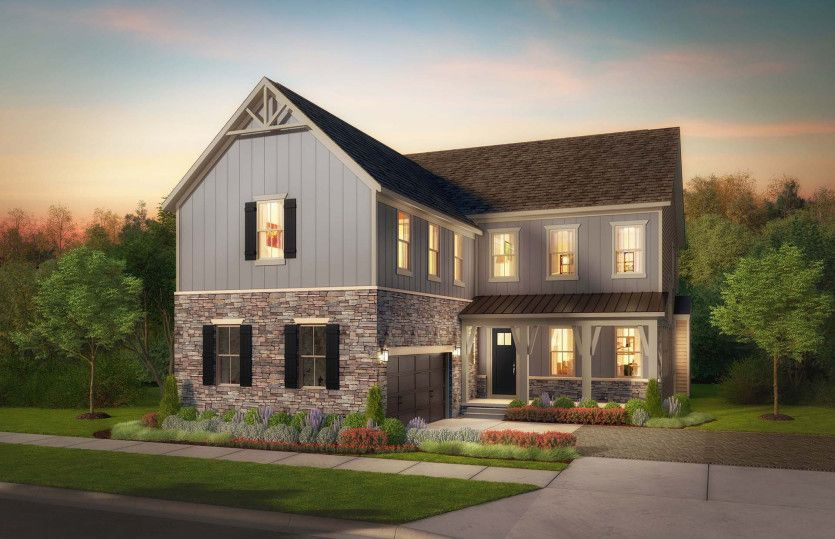 Greenview:Greenview Elevation 2 - Single-Family Homes at Tower Oaks in Rockville, Maryland