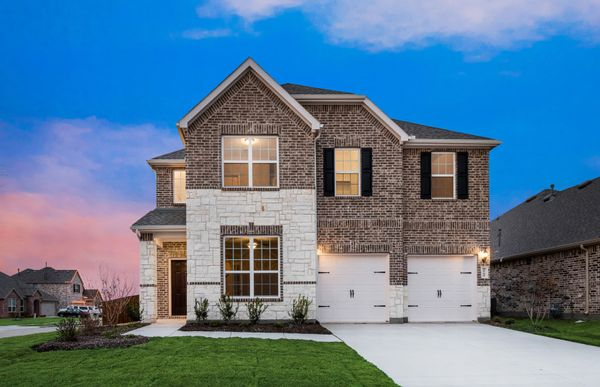 Beaumont:The Beaumont, 2-story new construction home with shutters, shown with Home Exterior C