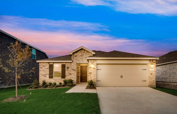 Morgan:The Morgan, a one-story home with 2-car garage, shown with Home Exterior O