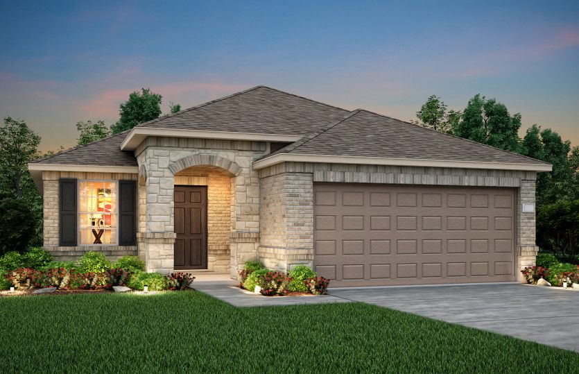 Exterior:The Becket, a one-story home with 2-car garage, shown with Home Exterior R