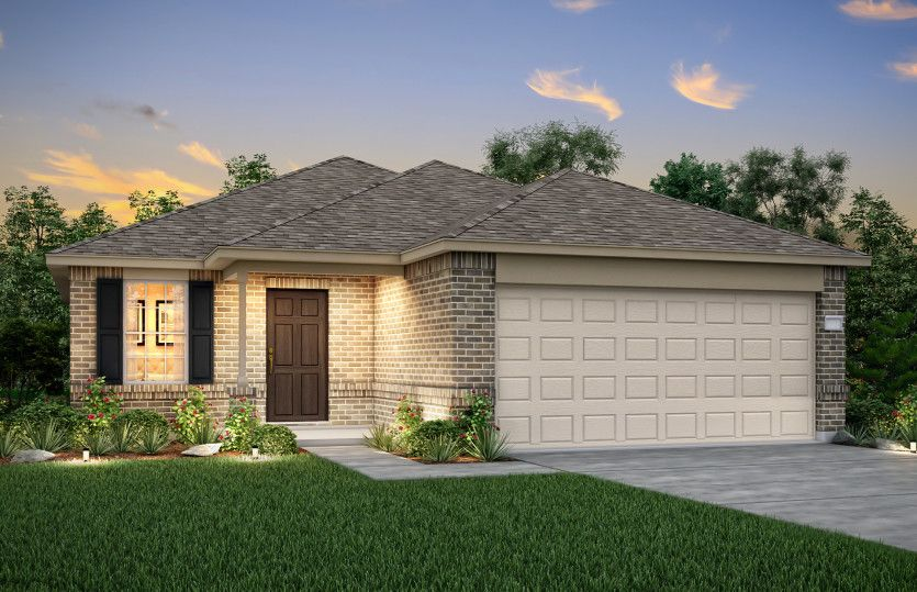 Becket:The Becket, a one-story home with 2-car garage, shown with Home Exterior N