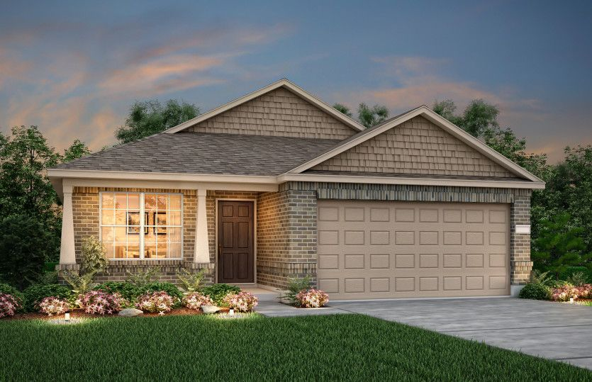 Independence:The Independence, a one-story home with 2-car garage, shown with Home Exterior S