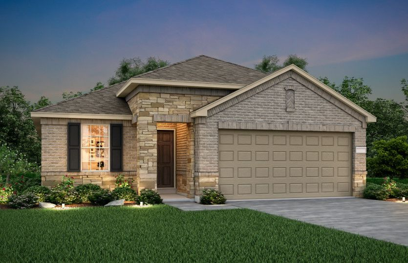 Independence:The Independence, a one-story home with 2-car garage, shown with Home Exterior R