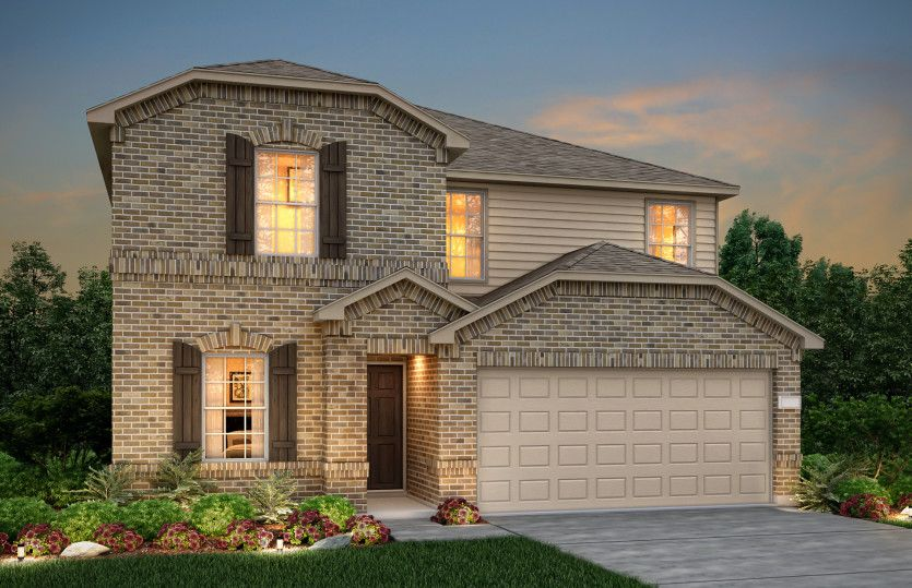 Sandalwood:The Sandalwood, a two-story home with 2-car garage, shown with Home Exterior P