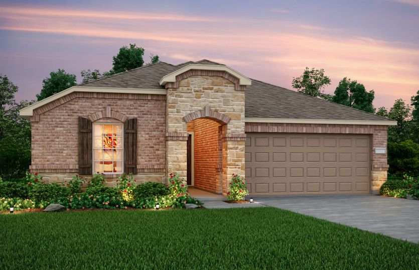 Exterior:Exterior R - The Rayburn plan, a one-story home with 2-car garage