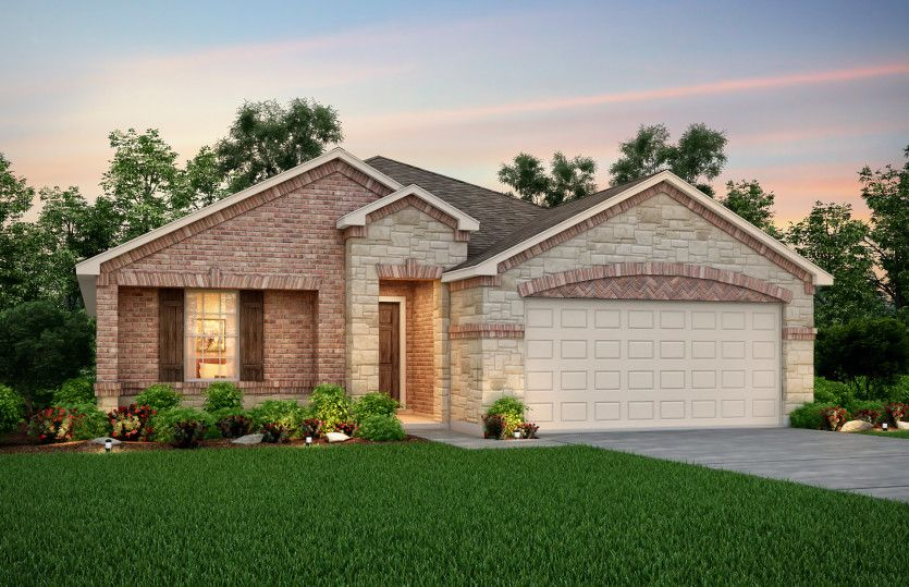 Exterior:Exterior R - The Eastgate plan, a one-story home with 2-car garage