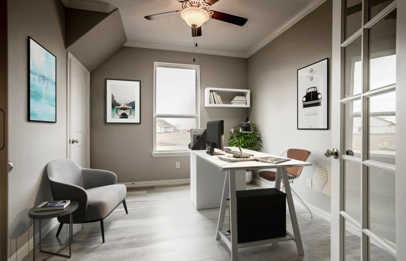 Albany:Flexible living space off entry, shown as study