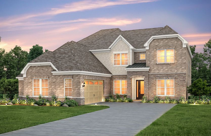 Harrington:Harrington Exterior 8 features stone, brick, shakes, covered front door and 2 car courtyard garage