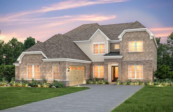 Harrington:Harrington Exterior 8 features stone, brick, shakes, covered front door and 2 car courtyard garage