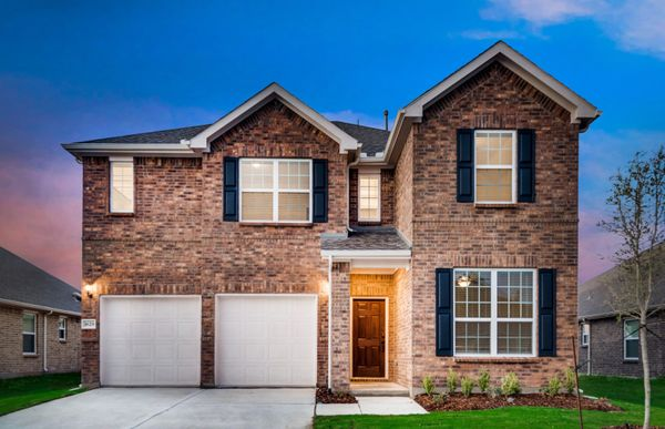San Marcos:The San Marcos, a 2-story new construction home with shutters, shown with Home Exterior A