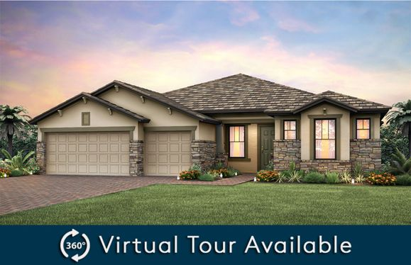 Pinnacle:Home Exterior C2B with decorative stone detail