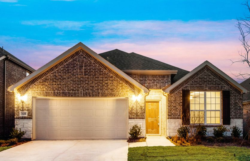 Sheldon:The Sheldon, a one-story new construction home with 2-car garage, shown with Home Exterior B