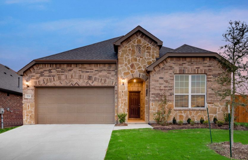Parker:The Parker, a one-story home with 2-car garage, shown with Home Exterior 35