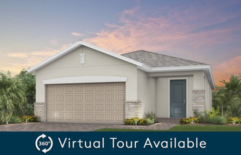 Tropic:The Tropic, a one-story home with a 2 car garage, shown as Home Exterior FM2A