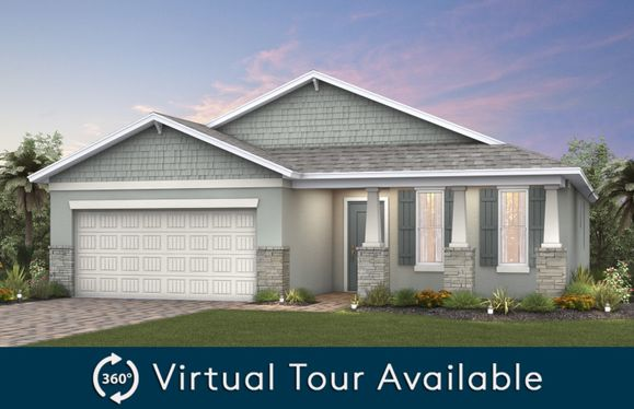 Canopy:The Canopy, a single-story home with a 2 car garage, shown as Home Exterior C2A