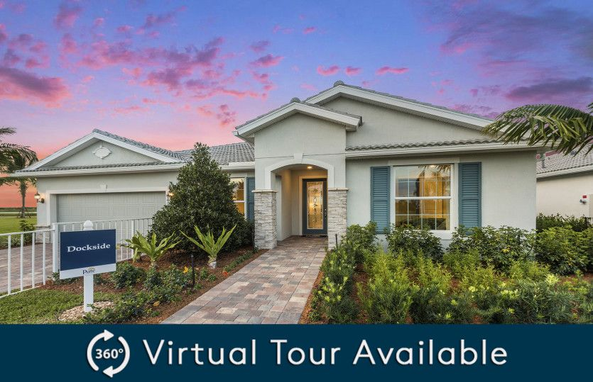 Dockside:The Dockside, a single-story home with a 2 car garage, shown as Home Exterior FM2A
