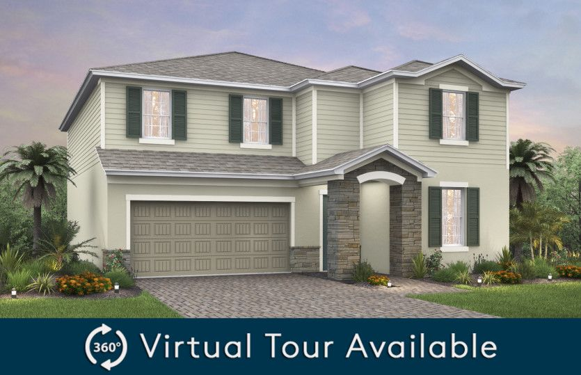 Sandhill:The Sandhill, a two-story home with a 2 car garage, shown as Home Exterior FM2A