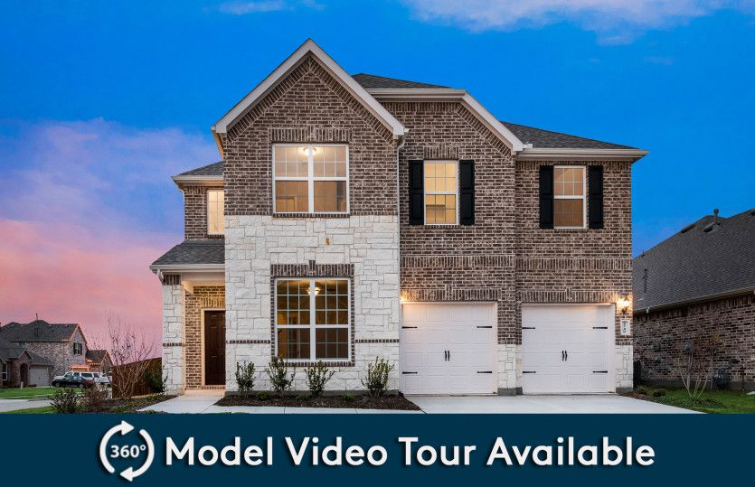 Beaumont:Exterior C with stone accents, shutters, and 2-car garage