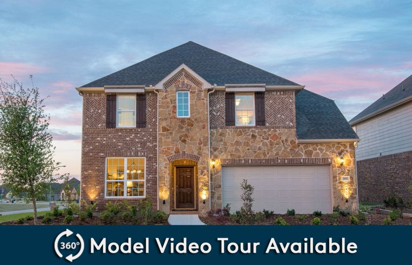 Lexington:Exterior D with stone accents, wood shutters, and 2-car garage with additional storage