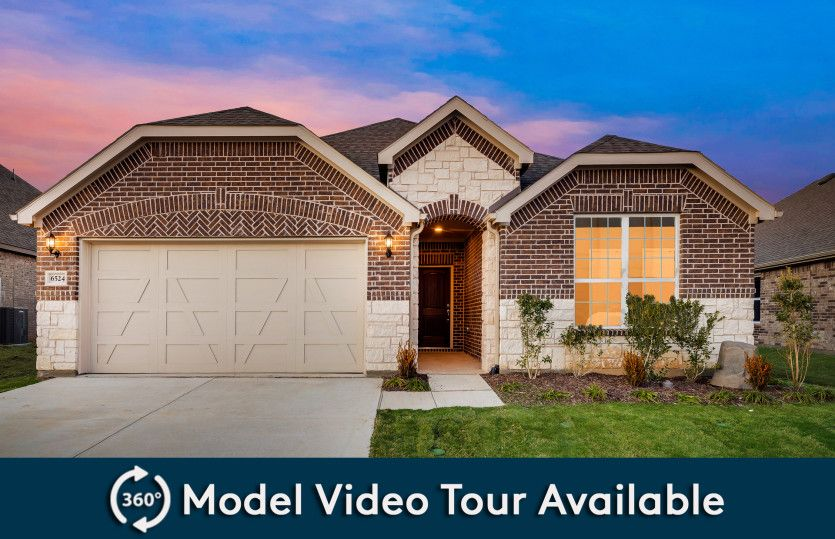 Mckinney:Exterior C with stone and brick, wood shutters, and 2-car garage