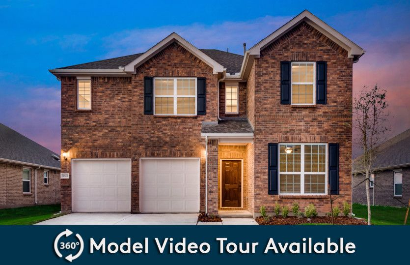 San Marcos:The San Marcos, a two-story home with shutters and 2-car garage, shown with Home Exterior A