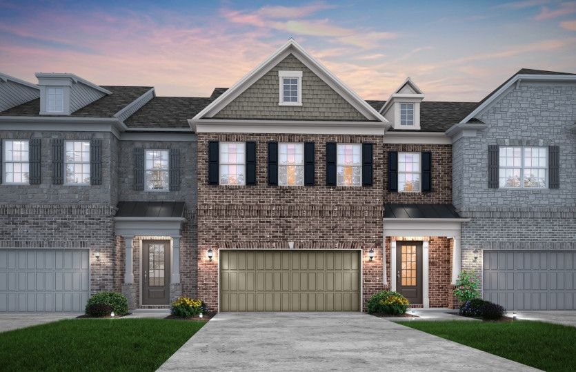 Exterior:Fulton Exterior 43 features brick, shakes, covered front door and 2 car garage