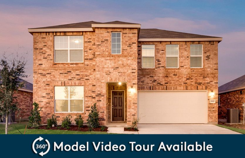 La Salle:The La Salle, a two-story new construction home with 2-car garage, shown with Home Exterior D